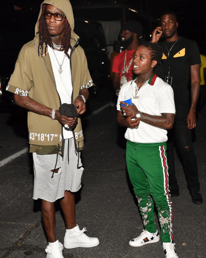 Young Thug in the Air Force 1 Mid & Jacquees in the Gucci Sneakers