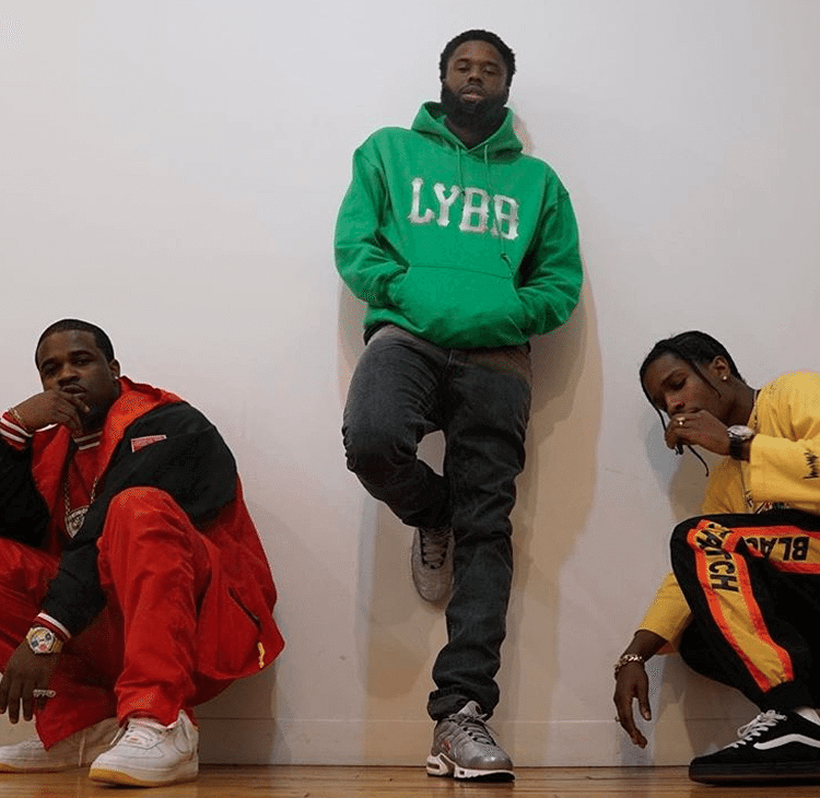 """A$AP Ferg in the Nike Air Force 1 Low """"West Indies,"""" A$AP Twelvyy in the Nike Air Max Plus """"Silver Bullet"""" and A$AP Rocky in the Vans"""