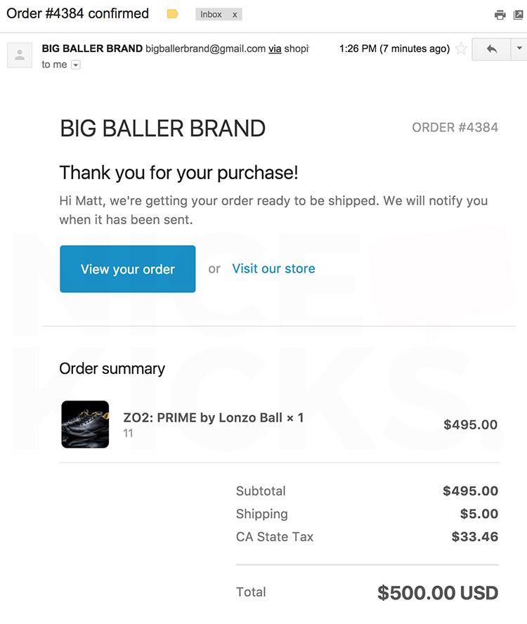Big Baller Brand order confirmation email