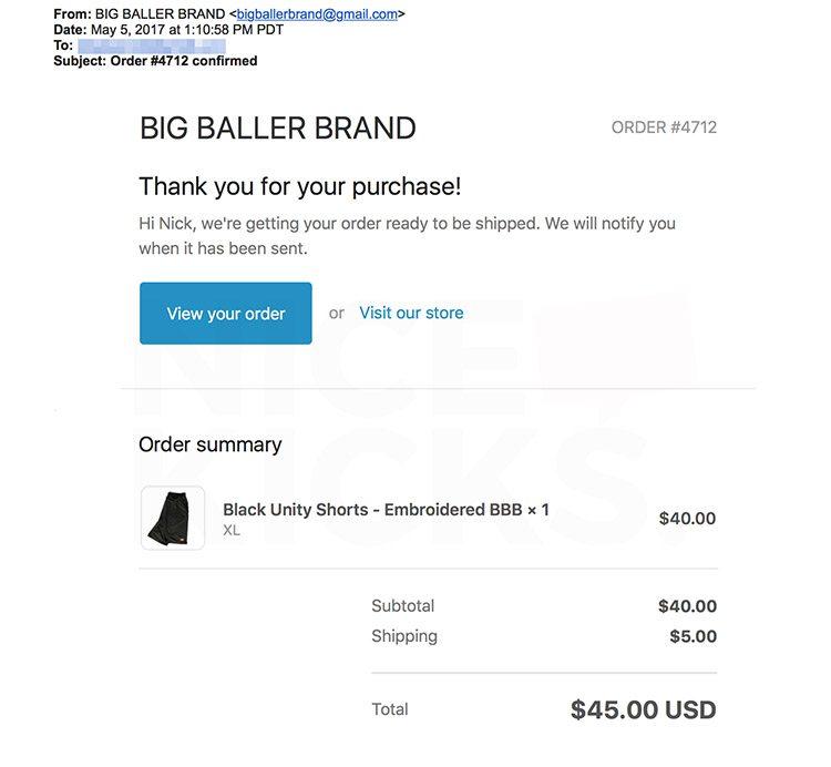 Nick DePaula's receipt from Big Baller Brand