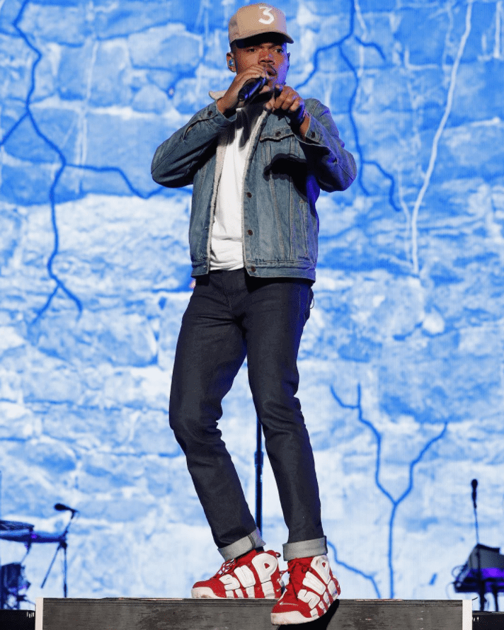 "Chance the Rapper in the Supreme x Nike Air More Uptempo ""Red"""