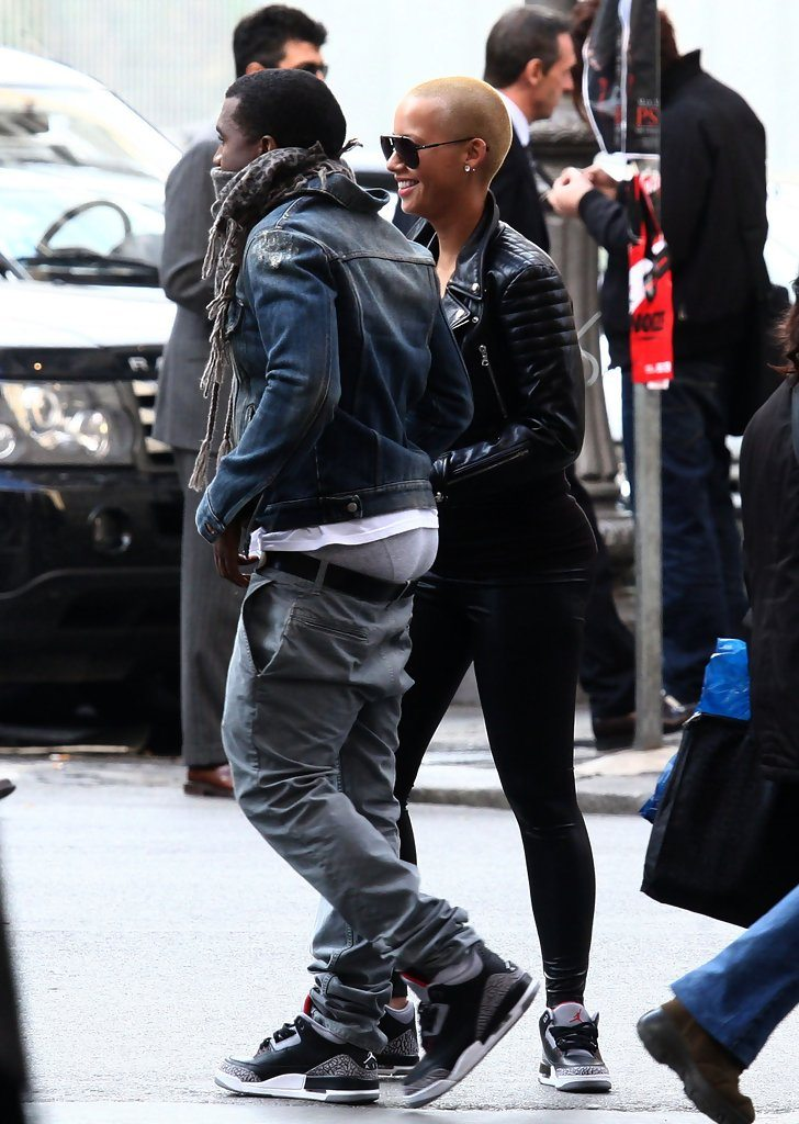 "Kanye West in the Air Jordan 3 ""Black Cement"""