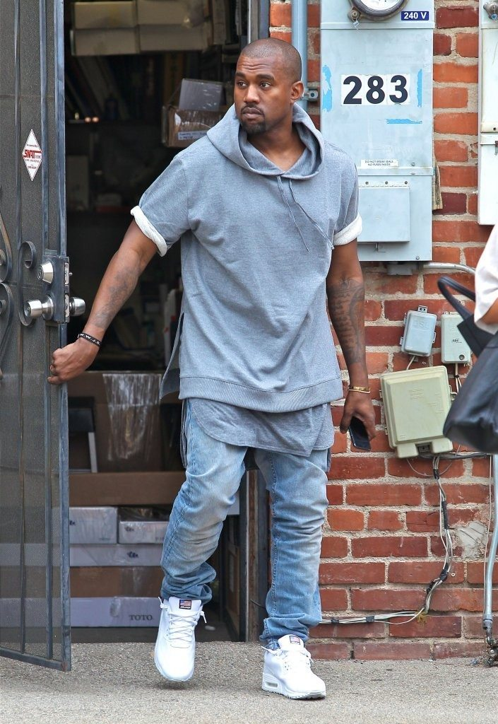 """Kanye West in the Nike Air Max 90 Hyperfuse """"White"""""""