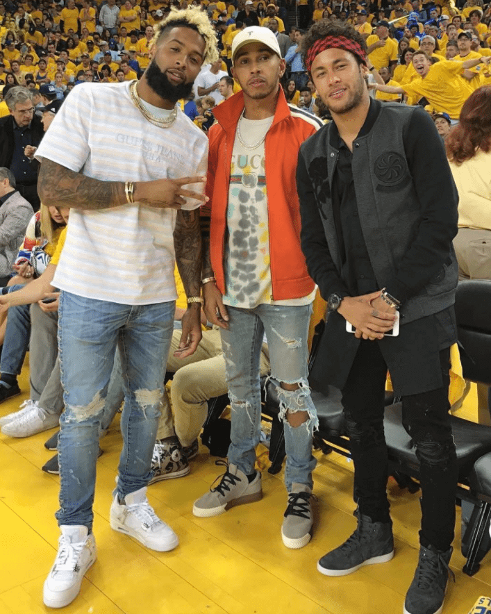 "Odell Beckham in the Air Jordan 4 Retro ""Pure Money"" & Lewis Hamilton in the AW x Adidas AW BB Low & Neymar Jr in the Air Jordan 1 High"