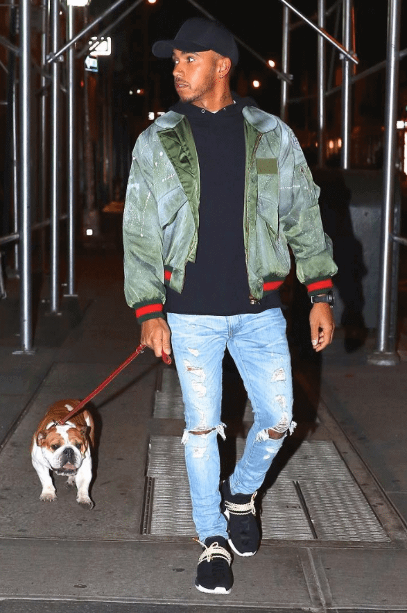 Lewis Hamilton in the PW x Adidas NMD Human Race