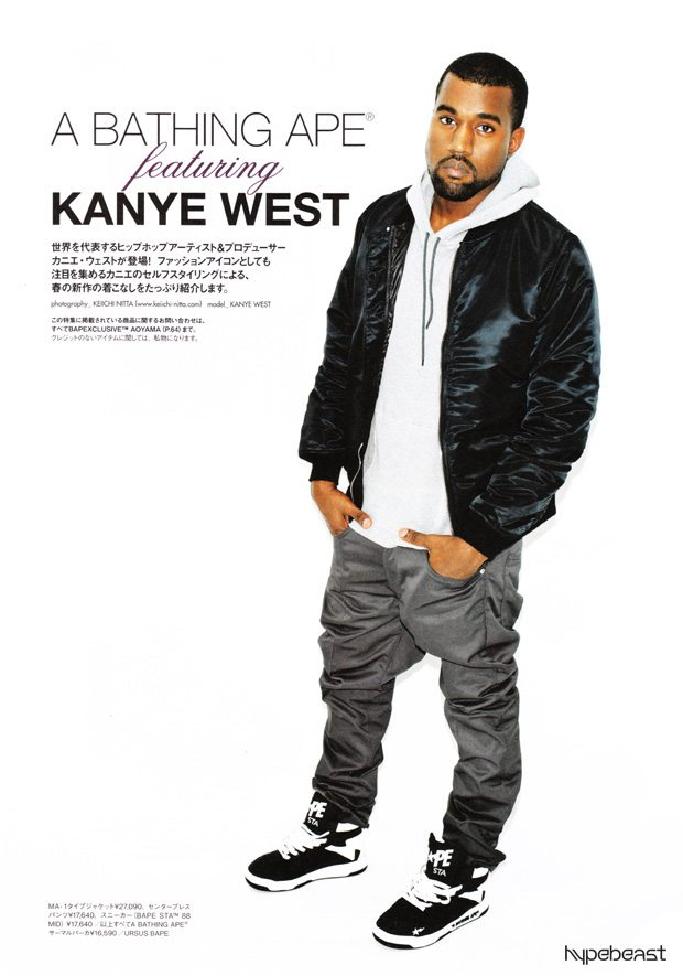 Kanye West in the A Bathing Ape 88 Mid