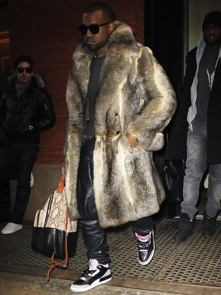Kanye West in the Air Jordan 3 Black/Cement