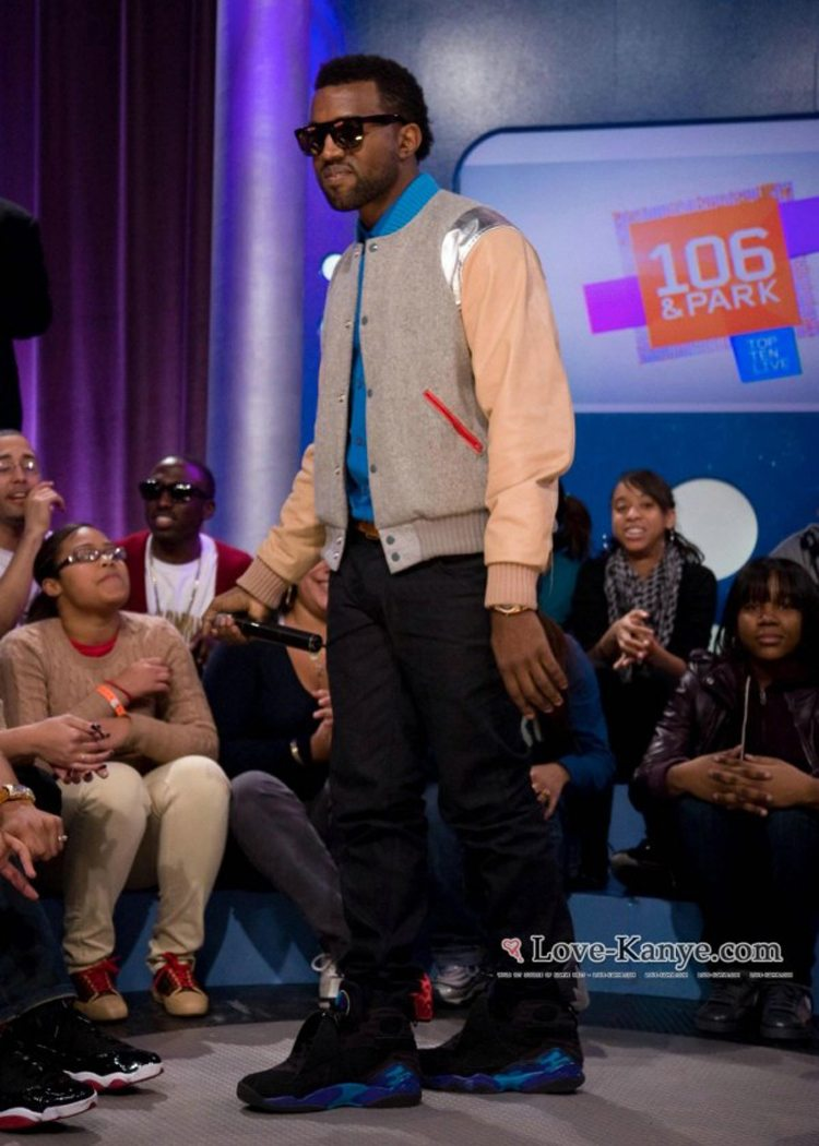 """Kanye West in the Air Jordan 8 """"Aqua"""""""