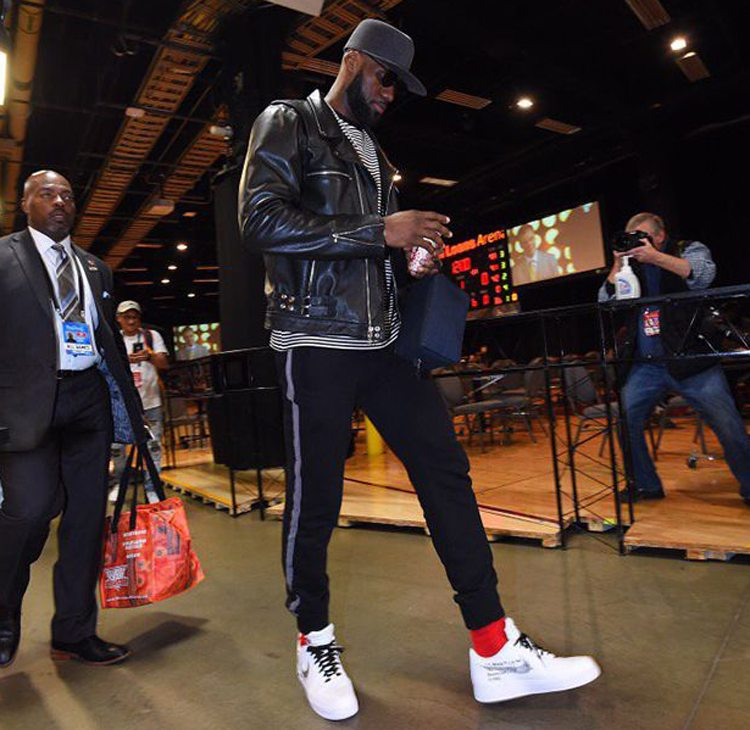 LeBron James in the Off-White x Nike Air Force 1 Low