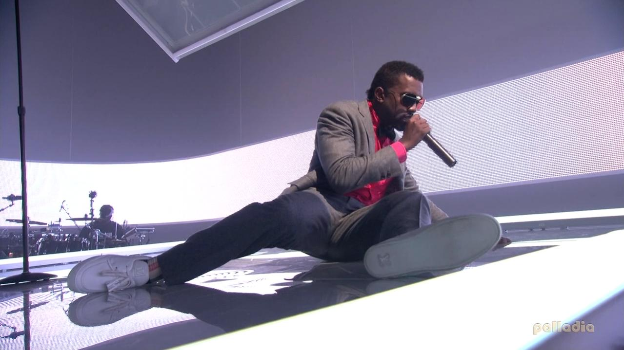 Kanye West in the Kanye West x Louis Vuitton Mr Hudson