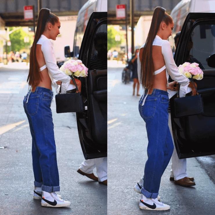 Bella Hadid in the Off White x Nike Blazers