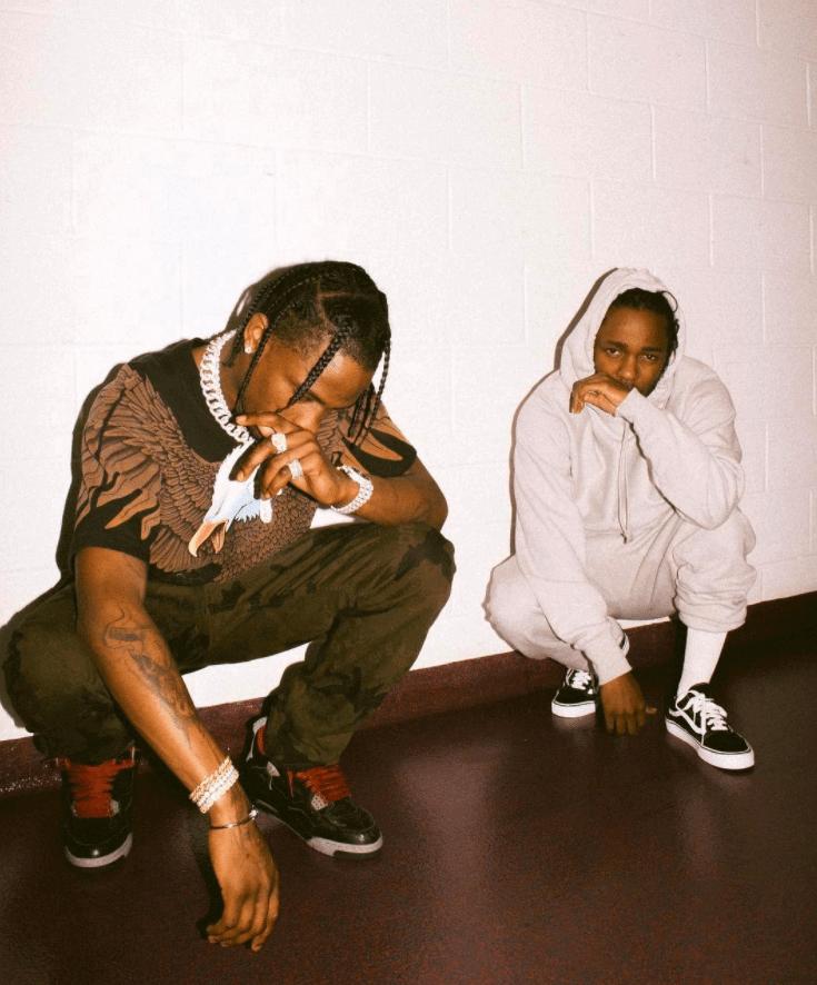 "Travis Scott in the Air Jordan 4 Retro ""Laser"" & Kendrick Lamar in the Vans Old School"
