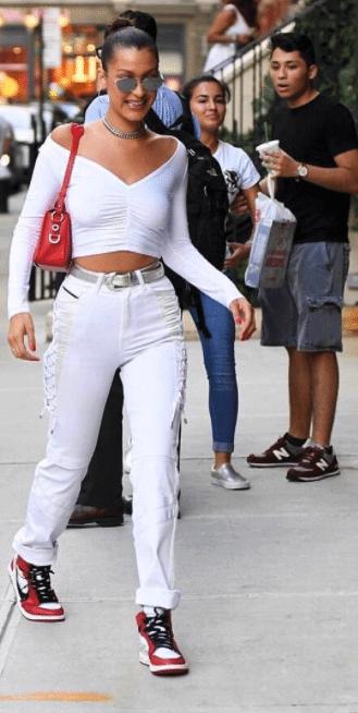 Bella Hadid in the Off White x Air Jordan 1