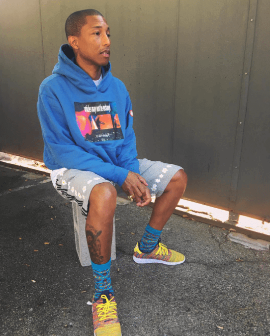 Pharrell Williams in the Pharell Williams Tennis Hu