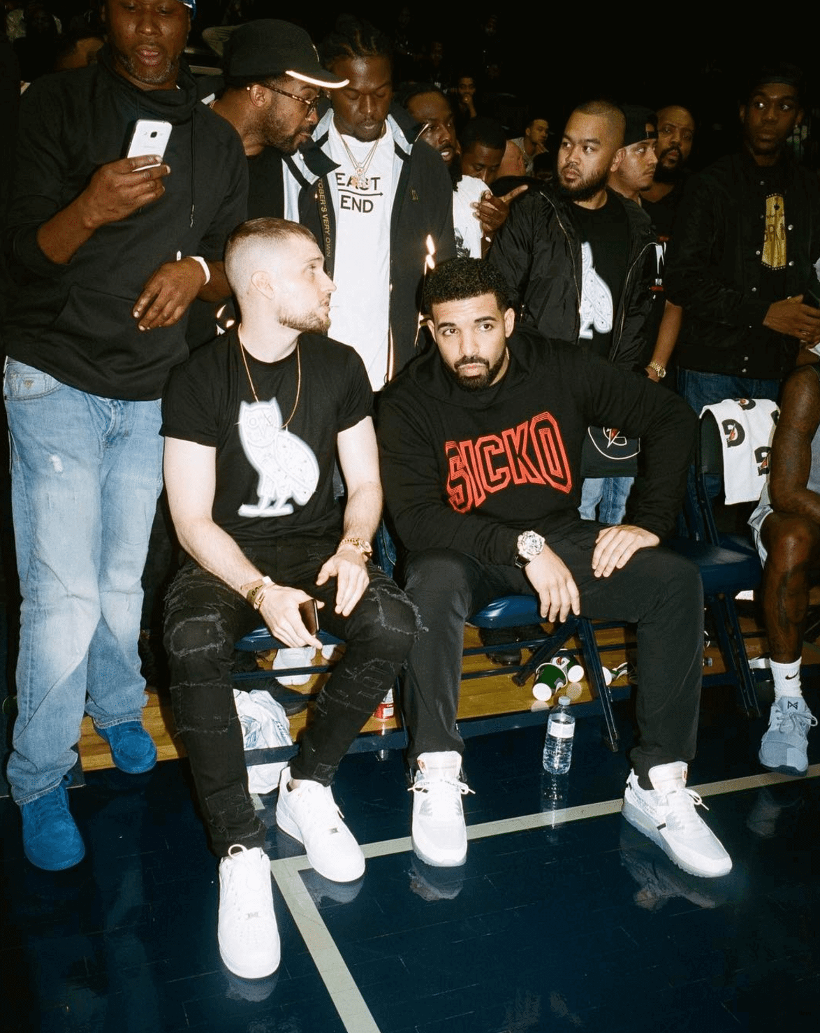 Drake in the Off White x Nike Air Max 90
