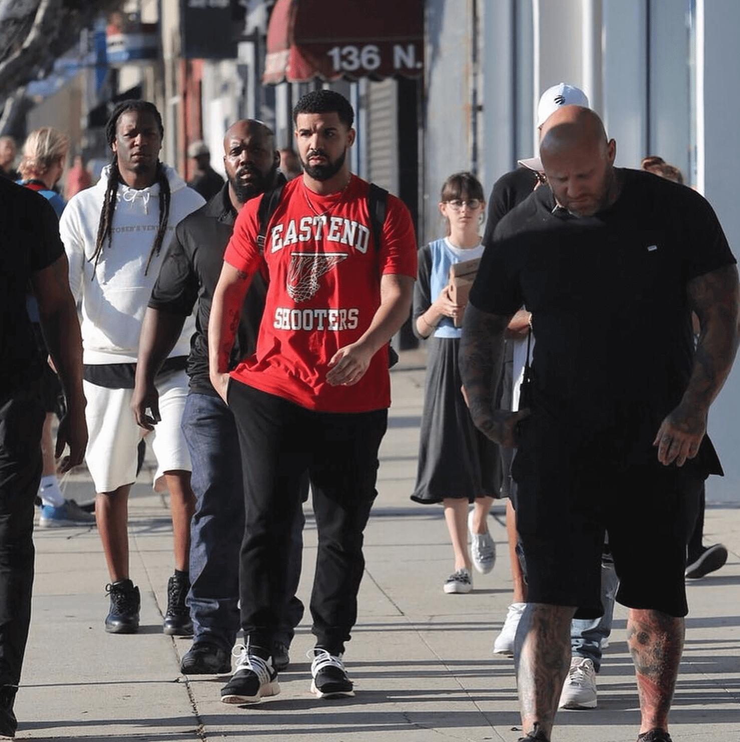 Drake in the Off-White x Nike Air Presto