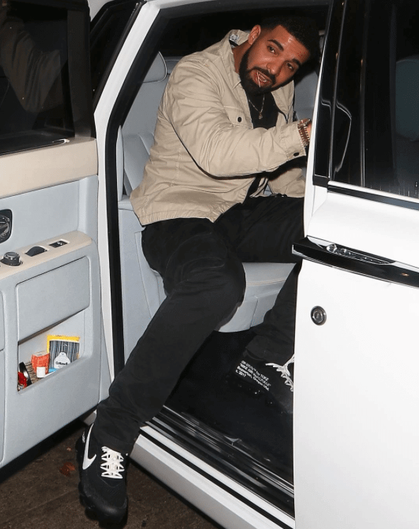 Drake in the Off-White x Nike Air Vapormax