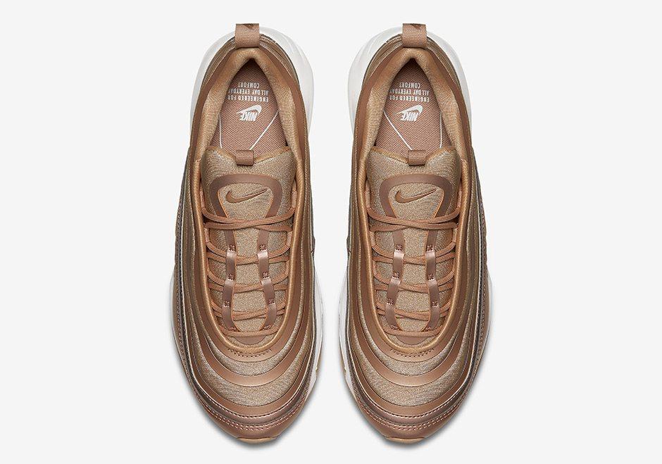 Mens and WMNS Nike Air Max 97 Ultra Metallic BronzeWhite