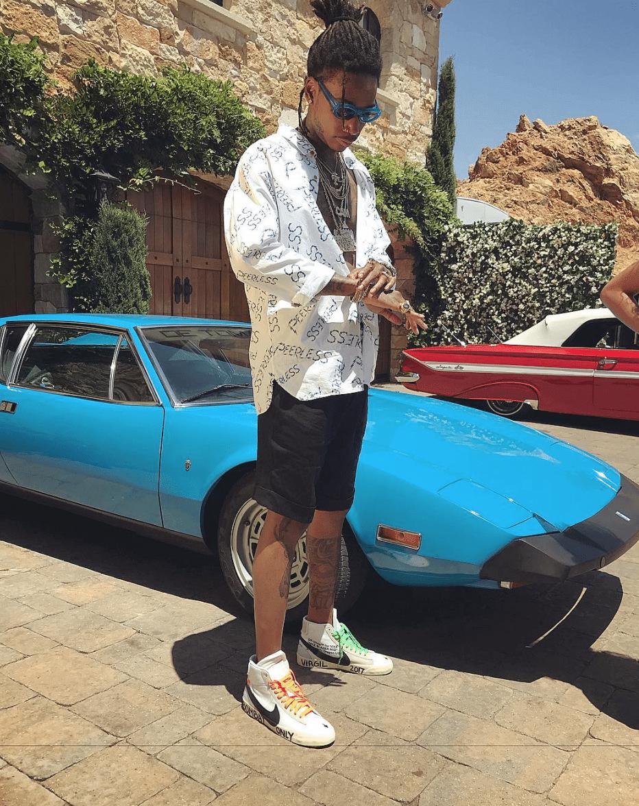 Wiz Khalifa in the Off White x Nike Blazer