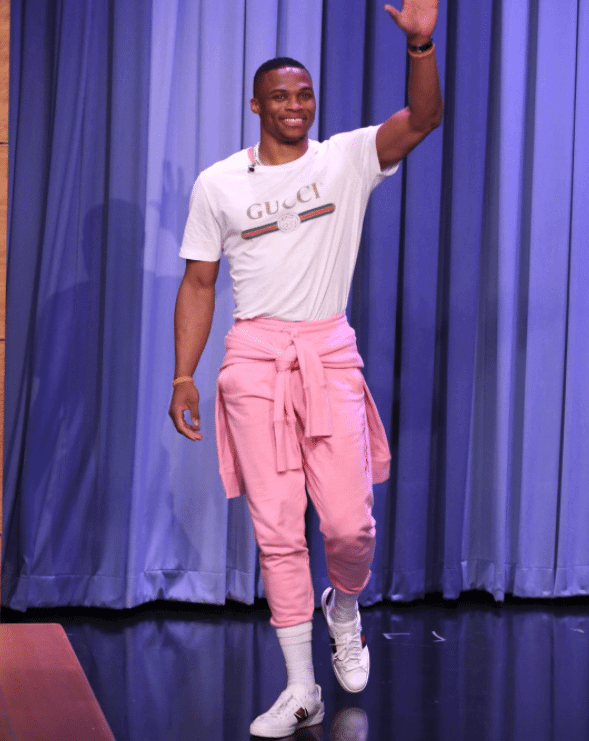 Russell Westbrook in the Gucci Ace Sneakers