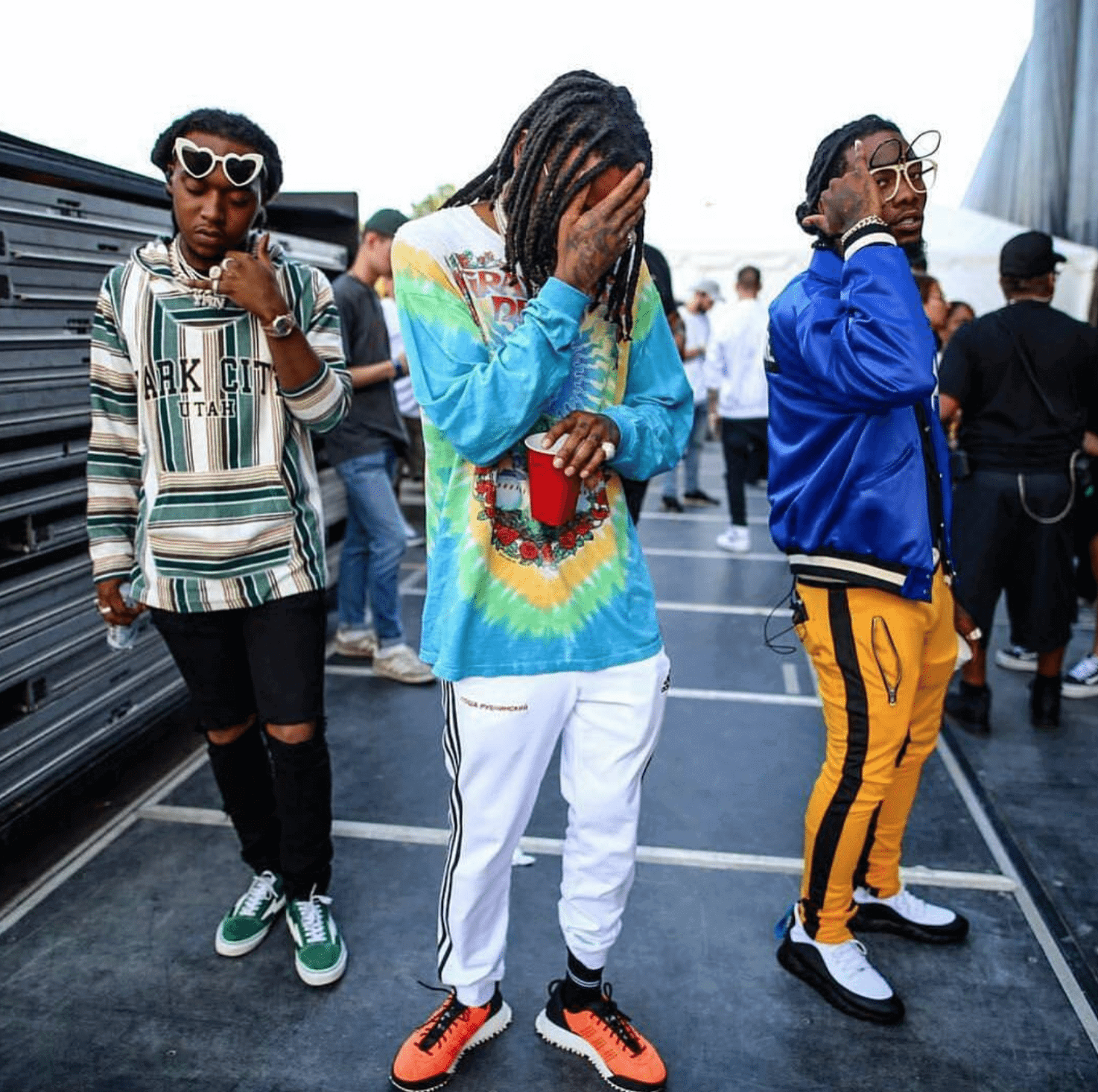 Takeoff in the Revenge Storm Sneakers & Quavo in the Adidas Originals by Alexander Wang Hike Lo & Offset in the Fendi Sneakers