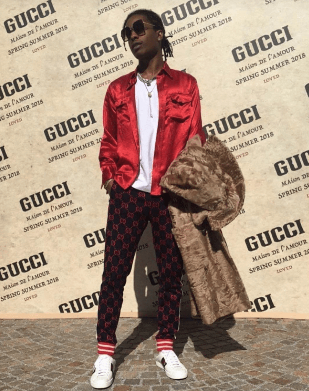 Asap Rocky in the Gucci Ace Sneakers