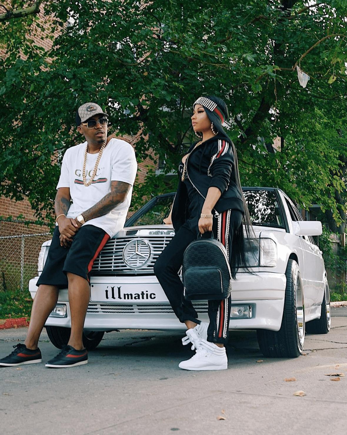 Nas in the Gucci Sneakers & Nicki Minaj in the Reebok Freestyle Hi