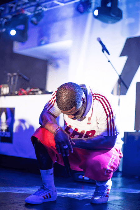 Asap Ferg in the Adidas x Trap Lord Matchcourt