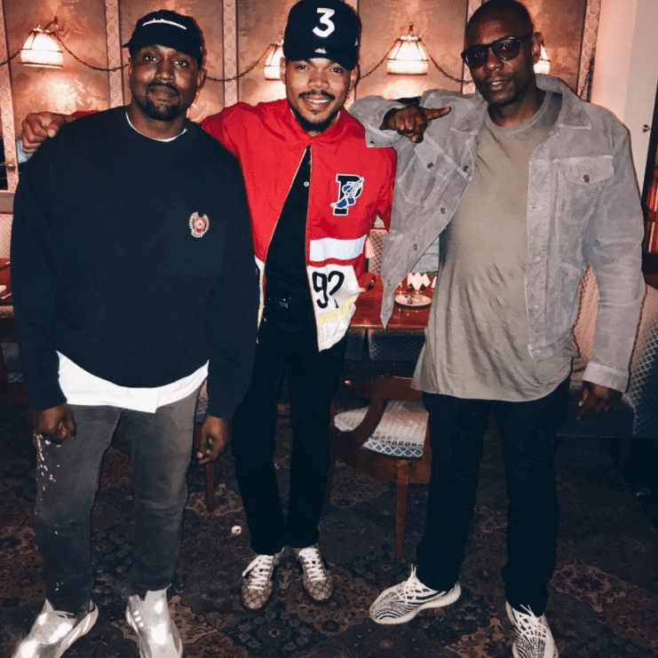 "Dave Chappelle in the adidas Yeezy BOOST 350 v2 ""Zebra"", Kanye West in the adidas Yeezy BOOST 700 & Chance the Rapper in the Gucci Ace Sneaker"