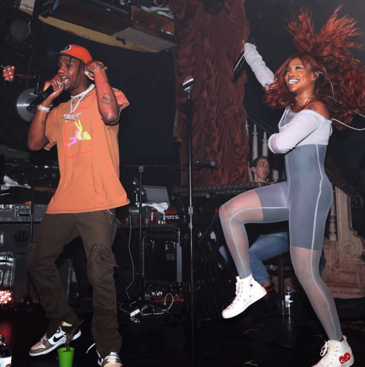 Travis Scott in the Nike Dunk Hi & Sza in the CDG Play x Converse Chuck Taylor Hi