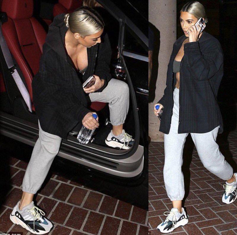 Kim Kardashian in the adidas Yeezy 700 Runner