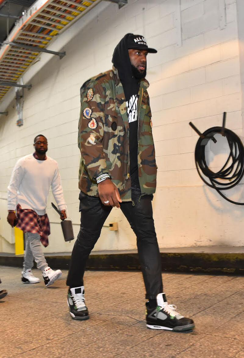 "Lebron James in the Air Jordan 4 Retro ""Oregon"" & Dwyane Wade in the Nike Zoom Generation"