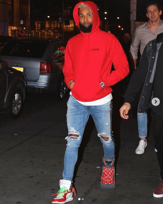 Odell Beckham in the Off White x Nike Air Jordan 1