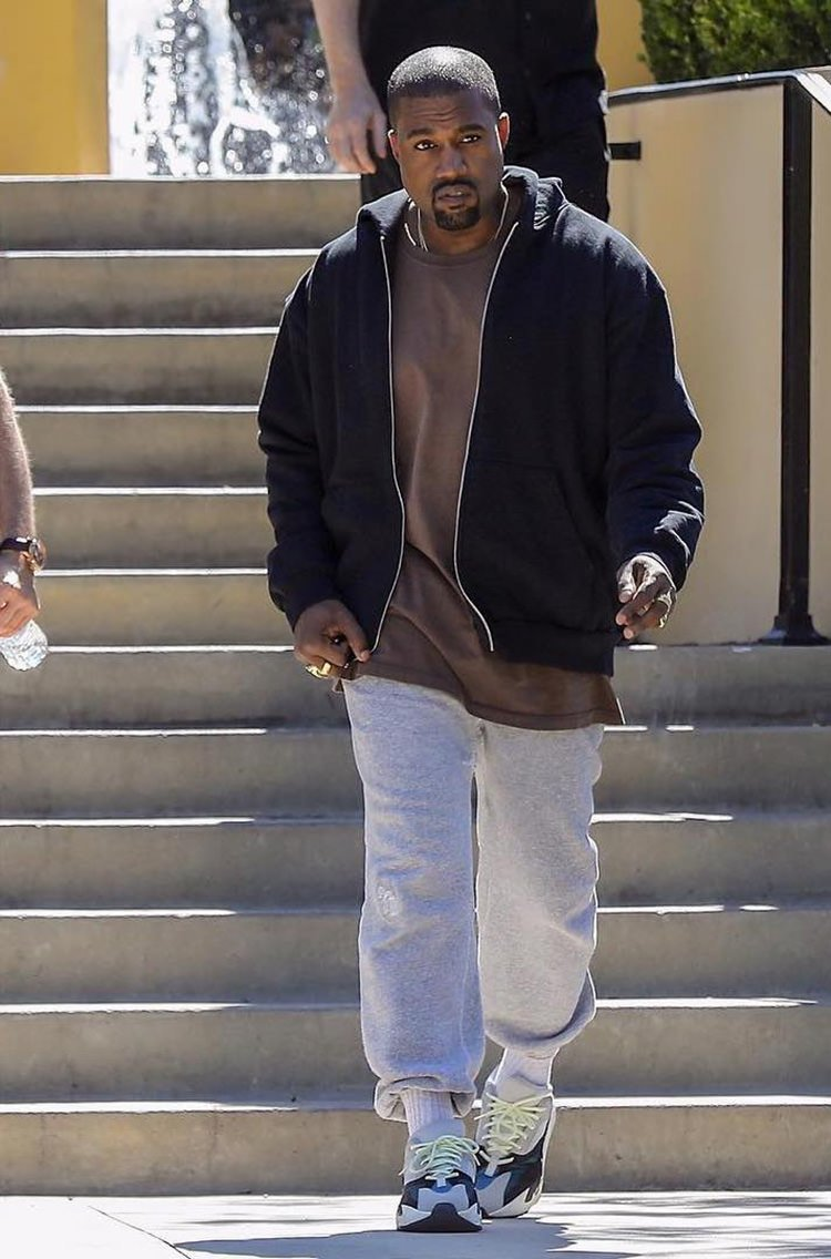 Kanye West in the adidas Yeezy Boost 700