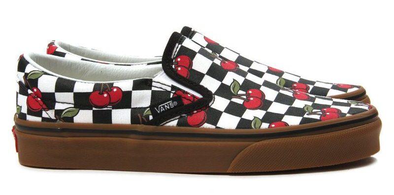 cherry checkered vans slip on