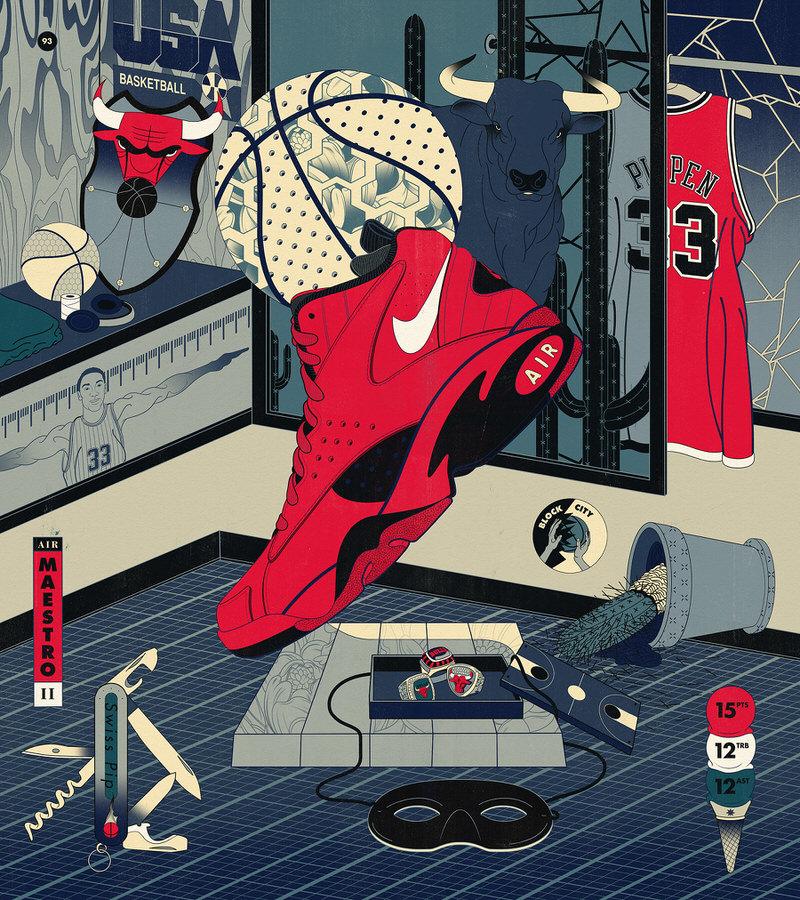 "Scottie Pippen's Nike Air Maestro II ""Trifecta"""