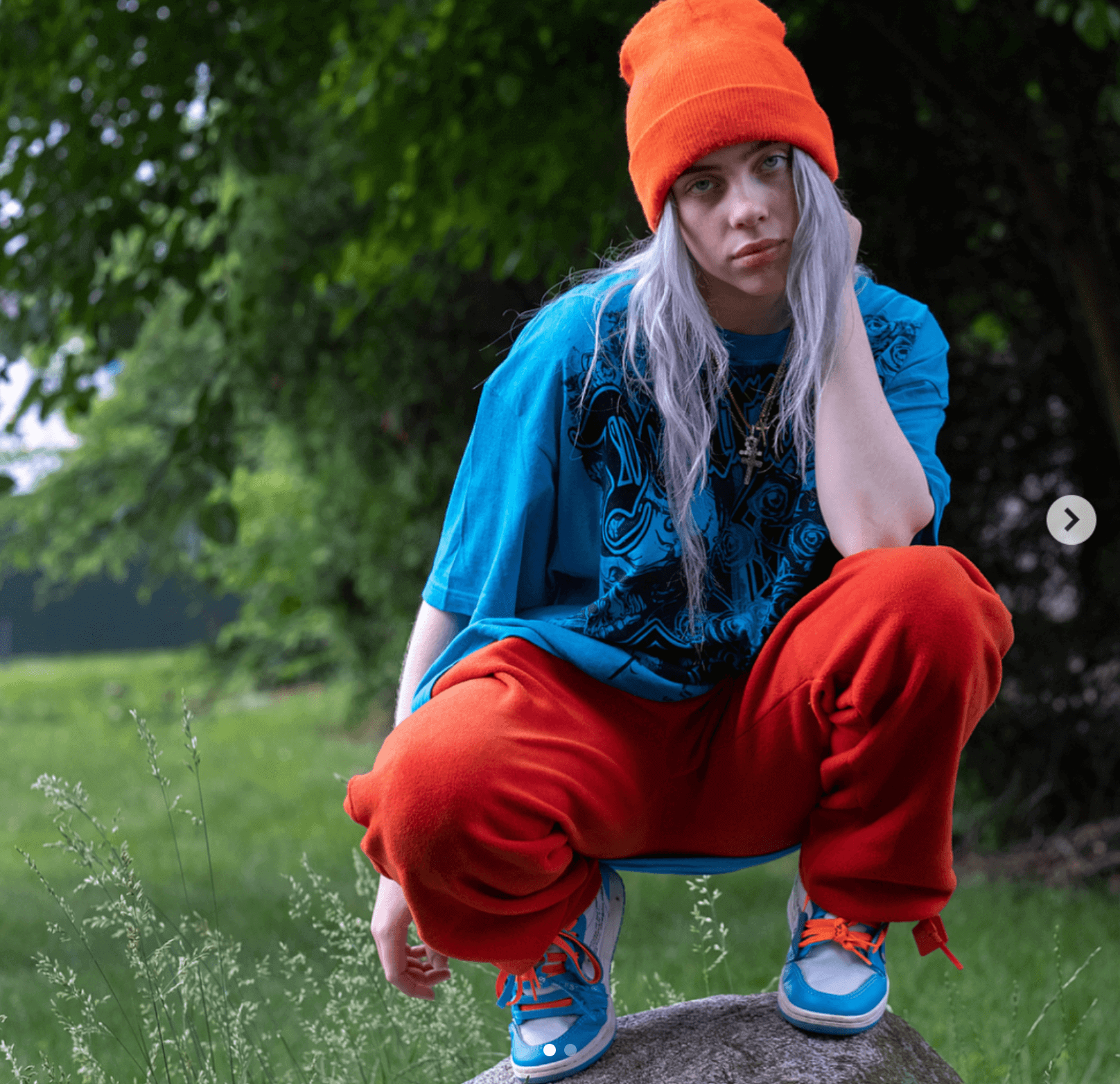 Billie Eilish in the Off White x Air Jordan 1