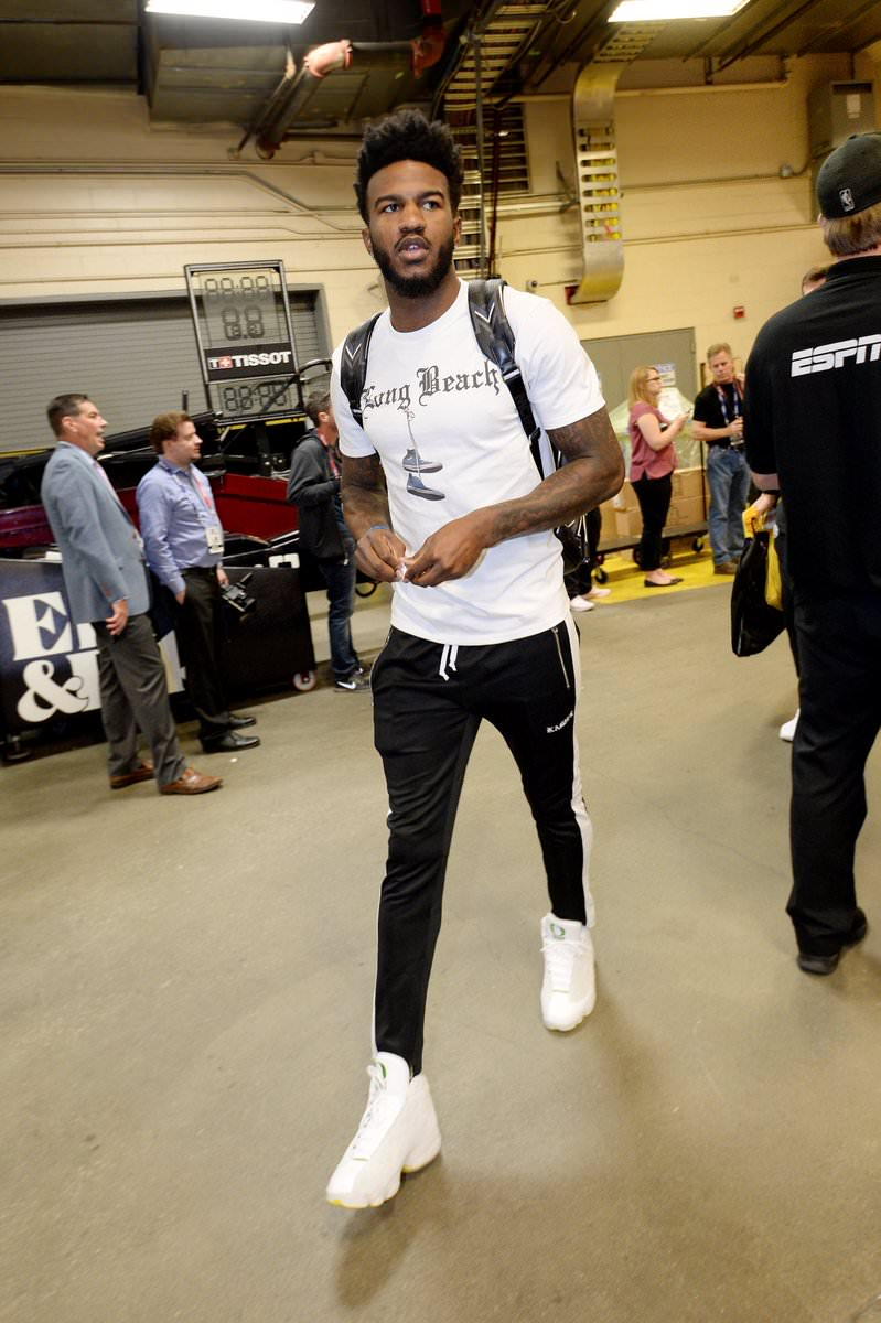 "Jordan Bell in the Air Jordan 13 Retro ""Oregon"""