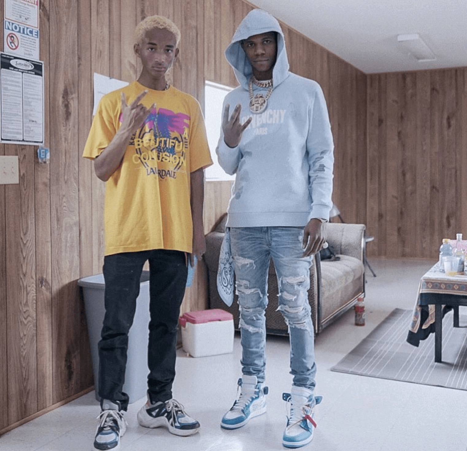 "Jaden Smith in the Louis Vuitton Sneakers & A Boogie with Da Hoodie in the Off White x Air Jordan 1 ""Carolina"""