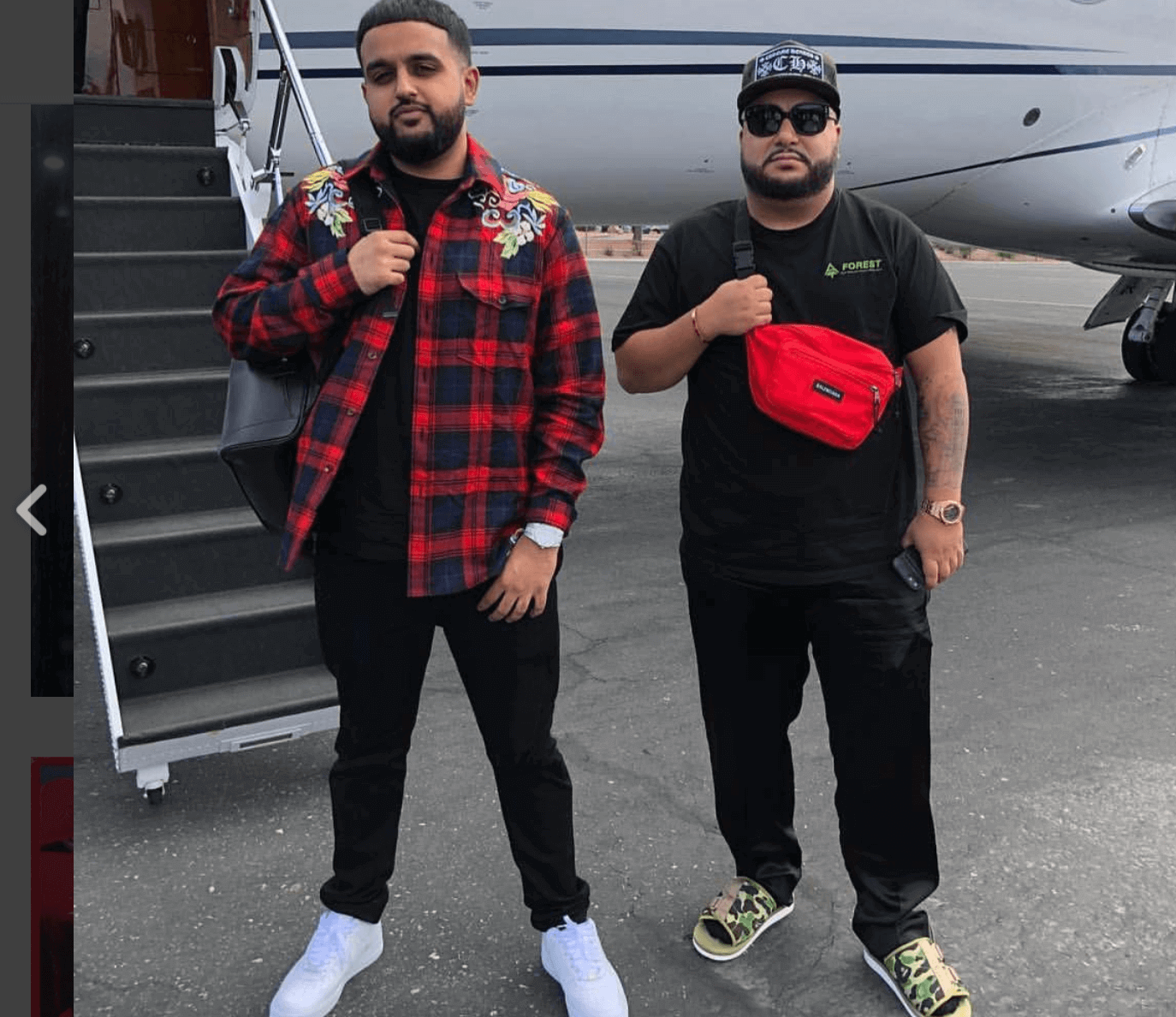 Nav in the Nike Air Force 1 Low & Cash XO in the Bape x Suicoke Sandals