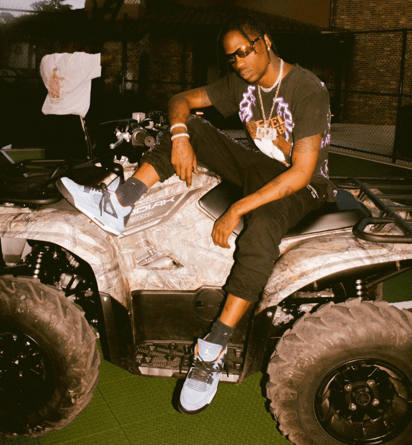 "Travis Scott in the Travis Scott x Air Jordan 4 ""Travis Scott"""