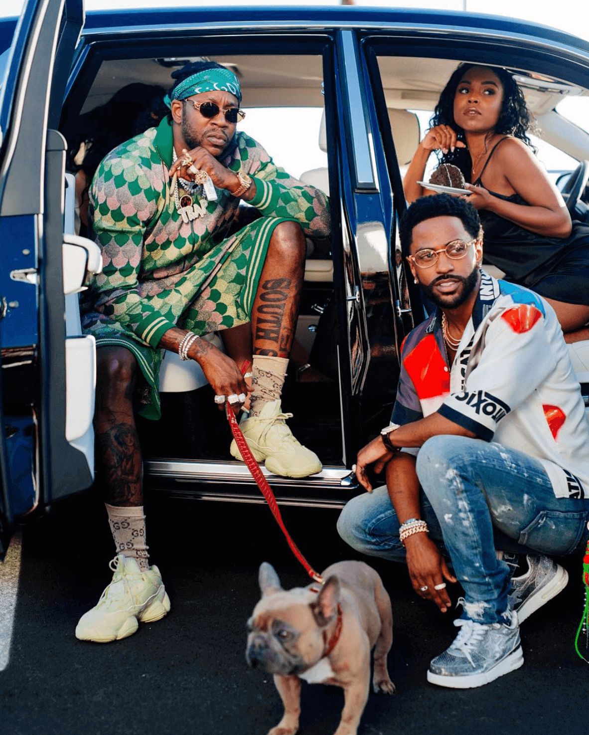 2 Chainz in the adidas Yeezy 500 'Super Moon Yellow' & Big Sean in the Bape Roadstas