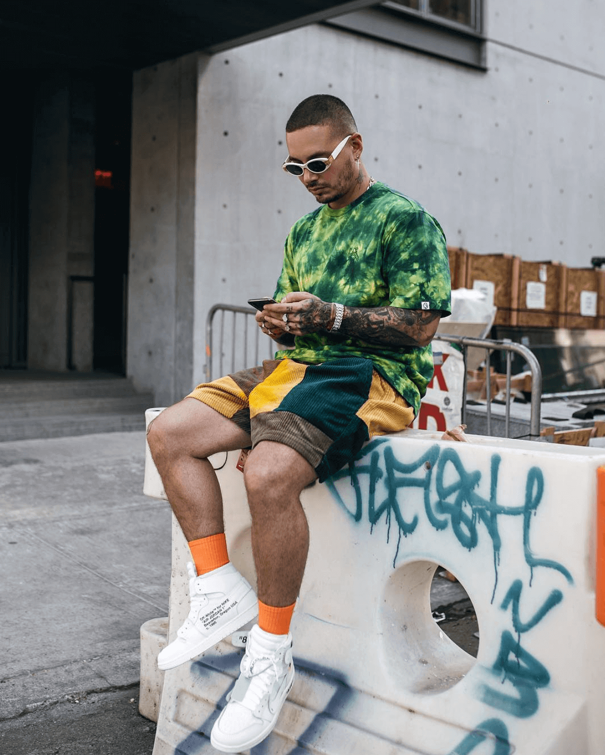 J Balvin in the Off White x Air Jordan 1