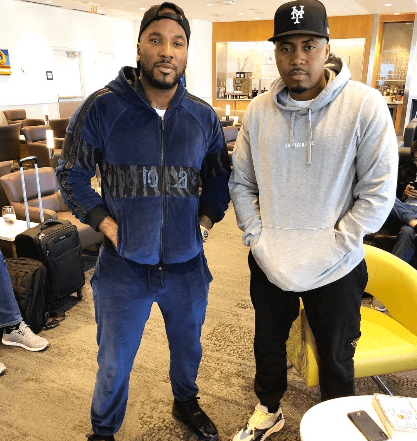 "Young Jeezy in the Air Jordan 11 Retro ""Gamma"" & Nas in the adidas Yeezy Boost 700"