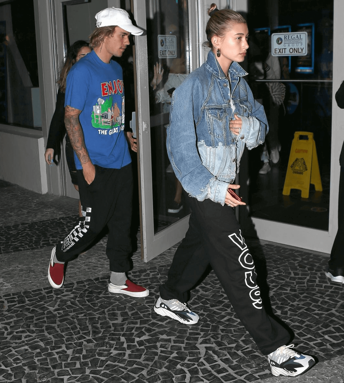 Justin Bieber in the Vans Slip on & Hailey Baldwin in the adidas Yeezy Boost 700