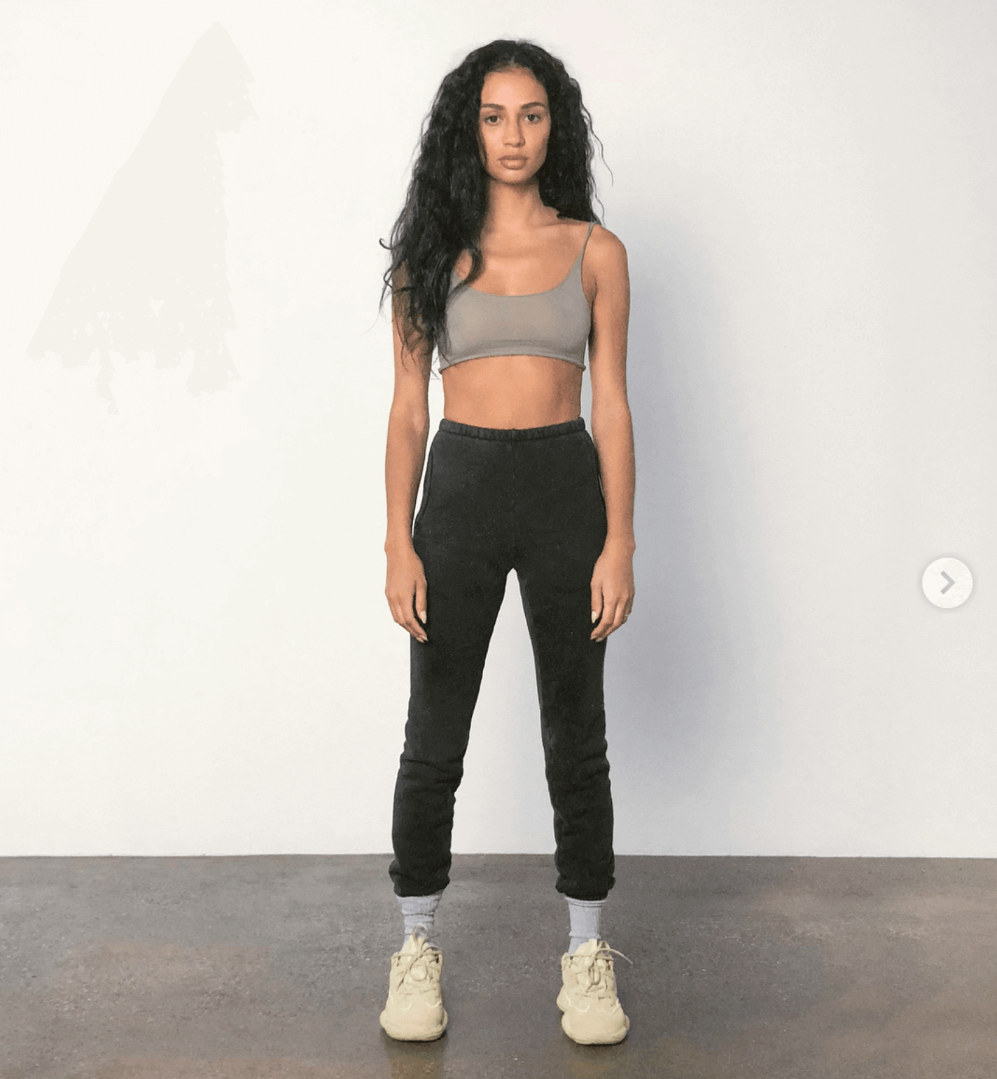 Kristen Noel Crawley in the adidas Yeezy 500 'Super Moon Yellow""