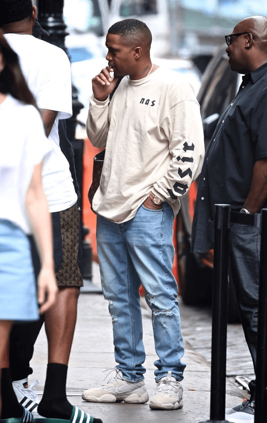 "Nas in the adidas Yeezy 500 ""Blush"""