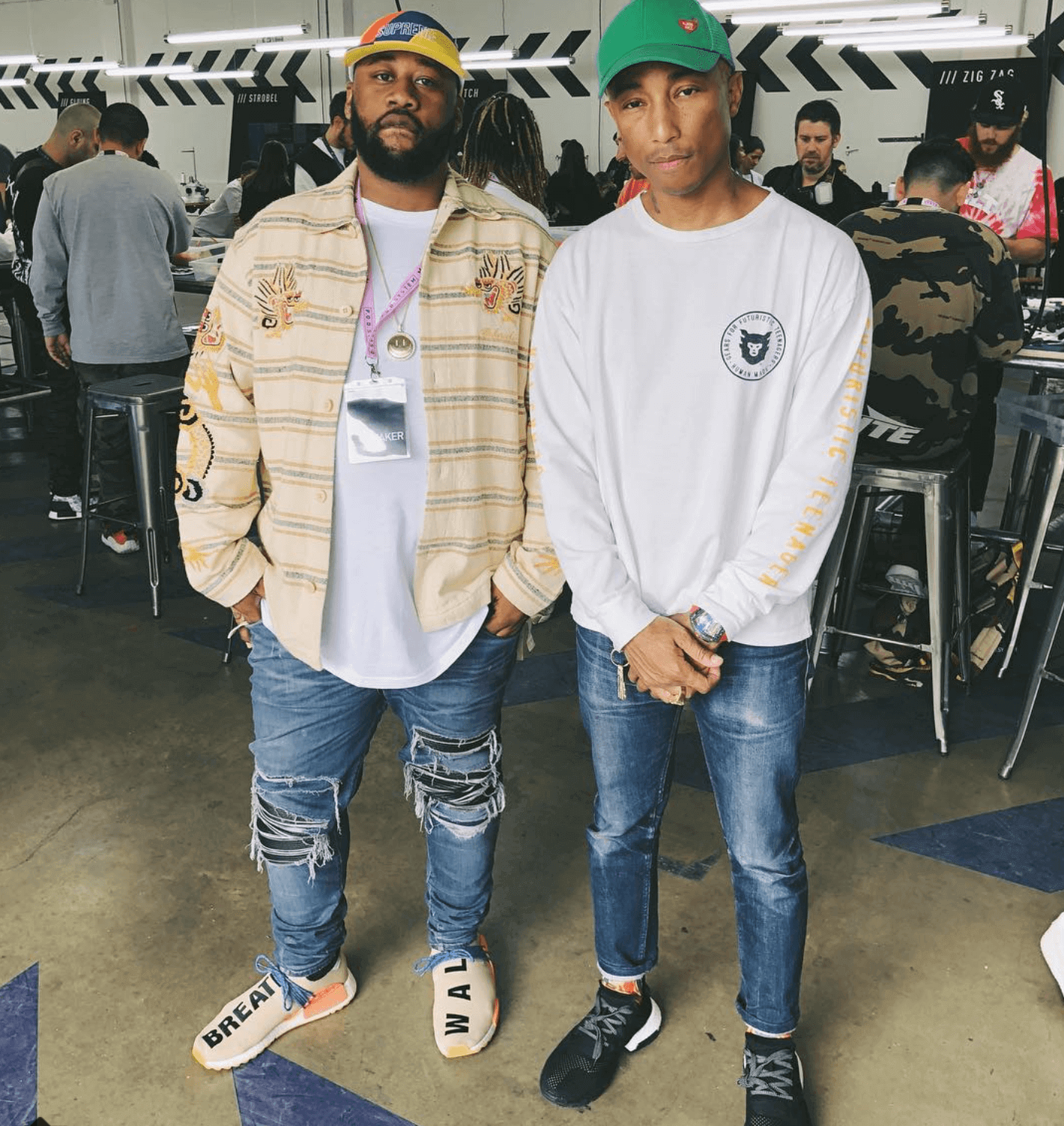 Joe Fresh in the adidas Pharrell Williams Hu Hiking NMD and Pharrell Williams in the adidas POD 3.1 System