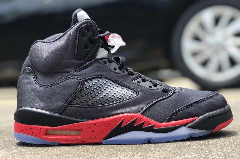 Air Jordan 5 Satin Black/Red Holiday