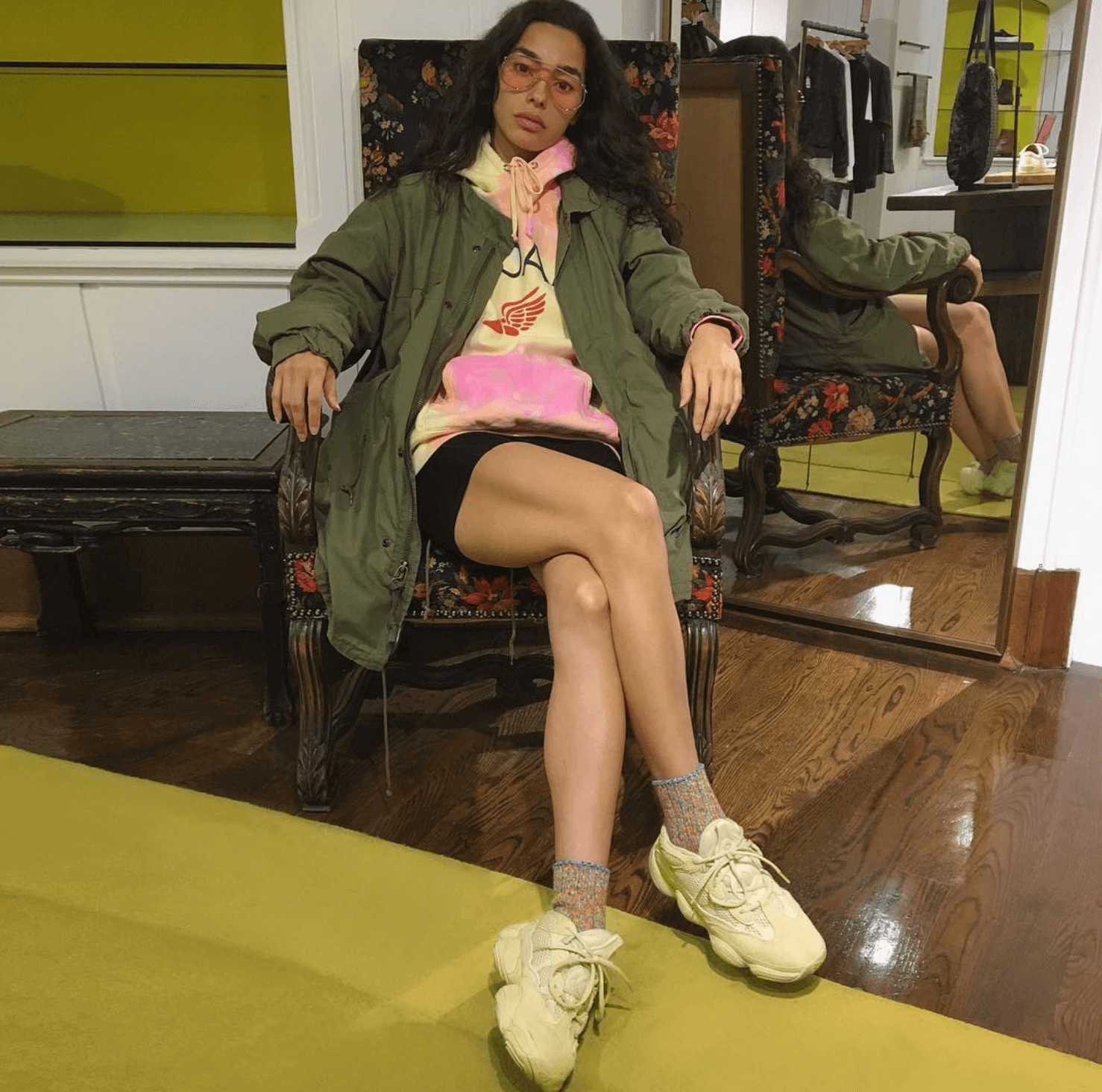 Adrianne Ho in the adidas Yeezy Super Moon Yellow 500